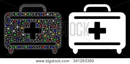 Bright Mesh Medical Briefcase Icon With Glare Effect. Abstract Illuminated Model Of Medical Briefcas