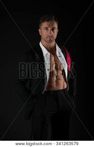 Charismatic Male With Muscular Belly. Confident Businessman After Hard Day. Being Seduced. Sexy Man