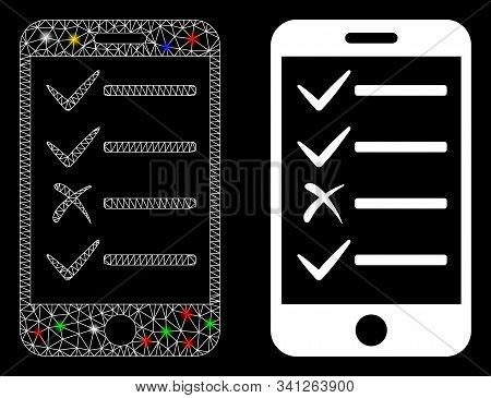 Glossy Mesh Mobile Todo List Icon With Lightspot Effect. Abstract Illuminated Model Of Mobile Todo L