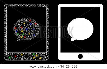 Glossy Mesh Pad Chat Message Icon With Glow Effect. Abstract Illuminated Model Of Pad Chat Message.