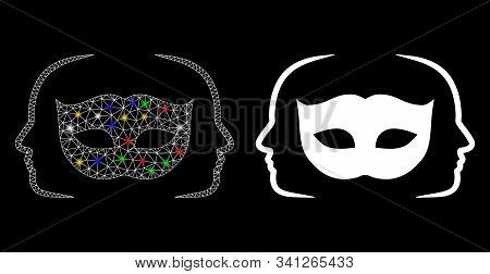 Glossy Mesh Private Party Mask Icon With Glow Effect. Abstract Illuminated Model Of Private Party Ma
