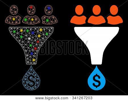 Glowing Mesh Sales Funnel Icon With Glitter Effect. Abstract Illuminated Model Of Sales Funnel. Shin
