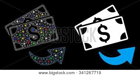 Flare Mesh Send Money Icon With Lightspot Effect. Abstract Illuminated Model Of Send Money. Shiny Wi