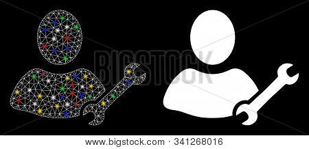 Bright Mesh Serviceman Icon With Glitter Effect. Abstract Illuminated Model Of Serviceman. Shiny Wir