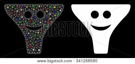 Glowing Mesh Smile Funnel Icon With Lightspot Effect. Abstract Illuminated Model Of Smile Funnel. Sh