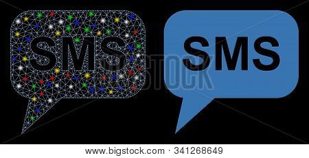 Flare Mesh Sms Icon With Sparkle Effect. Abstract Illuminated Model Of Sms. Shiny Wire Frame Triangu