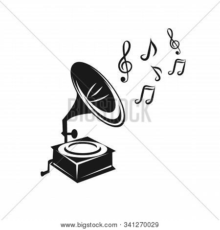 Hand Drawn Gramophone, Sketch. Music, Nostalgia Symbol. Vintage Vector Illustration