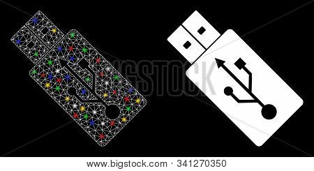 Glowing Mesh Usb Drive Icon With Glare Effect. Abstract Illuminated Model Of Usb Drive. Shiny Wire C