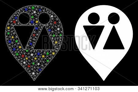 Glossy Mesh Wc Map Marker Icon With Glitter Effect. Abstract Illuminated Model Of Wc Map Marker. Shi