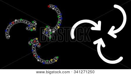 Glossy Mesh Whirlpool Rotation Arrows Icon With Glare Effect. Abstract Illuminated Model Of Whirlpoo