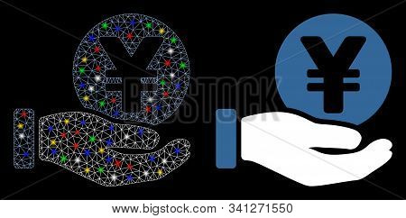 Bright Mesh Yen Coin Payment Hand Icon With Glare Effect. Abstract Illuminated Model Of Yen Coin Pay