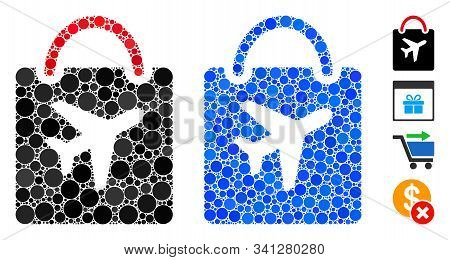 Duty Free Bag Mosaic Of Round Dots In Different Sizes And Shades, Based On Duty Free Bag Icon. Vecto