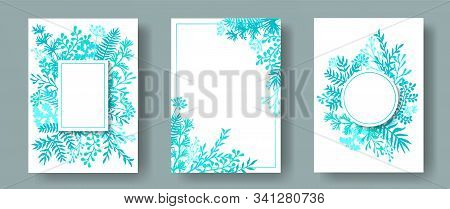 Cute Herb Twigs, Tree Branches, Leaves Floral Invitation Cards Set. Herbal Frames Modern Invitation