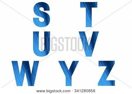 Blue Font Alphabet S, T, U, V, W, Y, Z Made Of Natural Bananas Leaf Background.