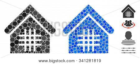 Jail Mosaic Of Round Dots In Different Sizes And Color Hues, Based On Jail Icon. Vector Dots Are Com