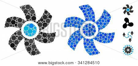 Rotor Mosaic Of Round Dots In Various Sizes And Shades, Based On Rotor Icon. Vector Round Dots Are C