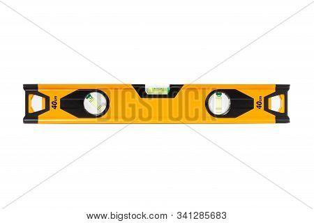 Spirit Level Close Up On White Background, Construction Bubble Level Yellow, Spirit Level Tool, Yell