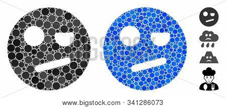 Negation Smiley Mosaic Of Round Dots In Various Sizes And Color Hues, Based On Negation Smiley Icon.