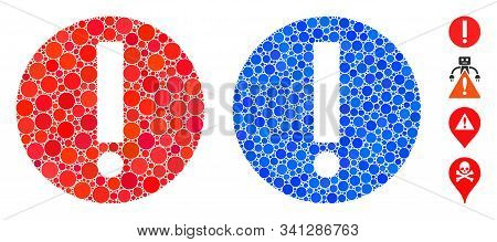 Exclamation Composition Of Round Dots In Various Sizes And Color Tinges, Based On Exclamation Icon.