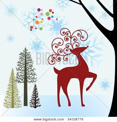 reindeer in snowy forest meadow