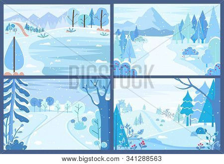Set Of Wintry Landscapes. Collection Of Winter Forests With Blizzards And Snowfalls. Tranquil Rural