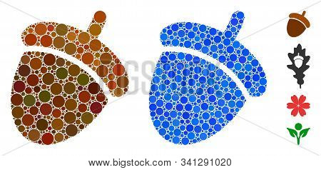 Acorn Composition Of Small Circles In Various Sizes And Color Hues, Based On Acorn Icon. Vector Smal