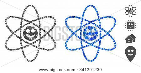 Happy Atom Composition Of Round Dots In Different Sizes And Color Tinges, Based On Happy Atom Icon.