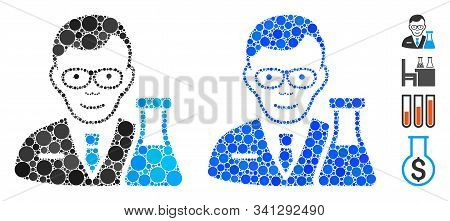 Chemist Mosaic Of Circle Elements In Various Sizes And Color Tinges, Based On Chemist Icon. Vector C