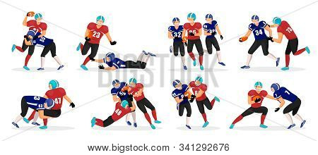 Collection Of People Playing American Football. Set Of Different Players Pose In Rough Kind Sport Ga
