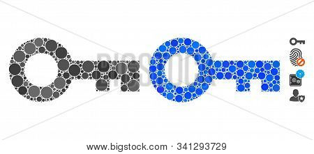 Key Composition Of Round Dots In Different Sizes And Color Tones, Based On Key Icon. Vector Round Do