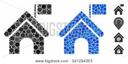 Government Building With Flag Composition Of Small Circles In Variable Sizes And Color Tints, Based