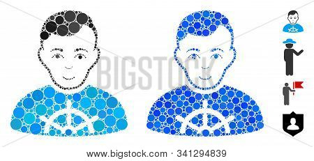 Captain Mosaic Of Filled Circles In Variable Sizes And Color Tones, Based On Captain Icon. Vector Fi