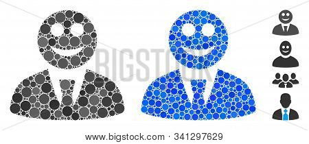 Glad Boss Mosaic Of Round Dots In Different Sizes And Shades, Based On Glad Boss Icon. Vector Round