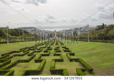 Lisbon, Portugal - September 22, 2019: The Eduardo Vii Park Is A Public Park To The North Of The Ave