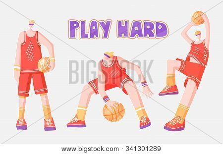 Vector Flat Collection Of Basketball Players. Man Playing In Basketball, Throwing A Ball Into Basket