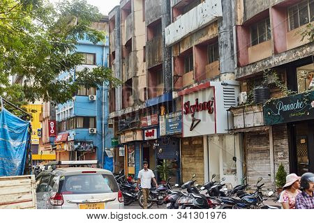 Panaji, Goa, India - December 15, 2019: Streets Of The State Capital Of Goa Panjim. Old Slums Cities