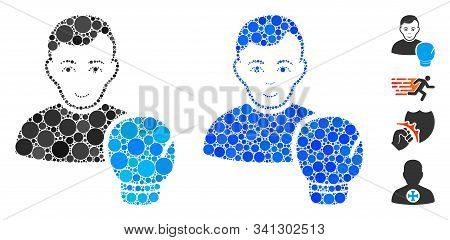 Boxing Sportsman Mosaic Of Circle Elements In Variable Sizes And Color Hues, Based On Boxing Sportsm