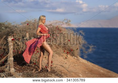 Woman In The Fluttered Red Dress Posing On The Lonely Cliff Above The Ocean Near The Roses In The Ra