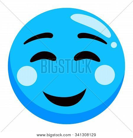 Smiling Emoji In Blue Color, Glossy Photozone Accessory, Round Sticker Of Happy Smiley. Photoshoot E