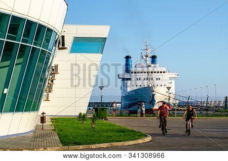 Sochi, Russia - July 28, 2019: Knyaz Vladimir, Prince Vladimir, Cruise Ship Parked In The Seaport. P