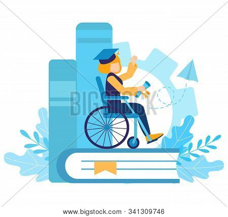 A Disabled Girl In A Wheelchair Studied And Graduated From School Or University. Certificate Of Skil