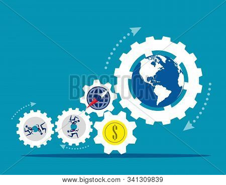 Globe People With Money Spinning Economic. Concept Business Vector Illustration, Coin Or Money, Dire