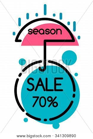 Season Sale Discount 70 Percent In Umbrella And Circle Shapes Isolated On White. Shopping Colorful P