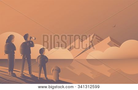 A Family Of Tourists Standing On A Rock And Admiring The View Of A Beautiful Lake And Mountains. Fat