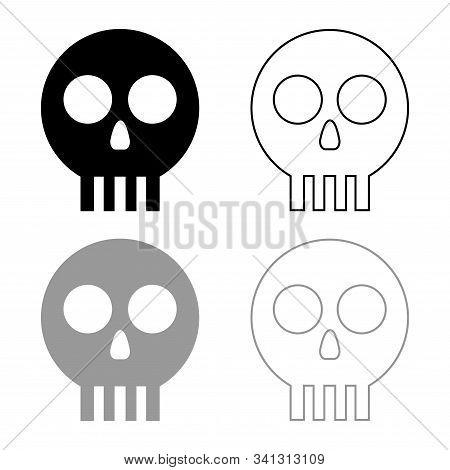 Human Skull Cranium Icon Outline Set Black Grey Color Vector Illustration Flat Style Simple Image