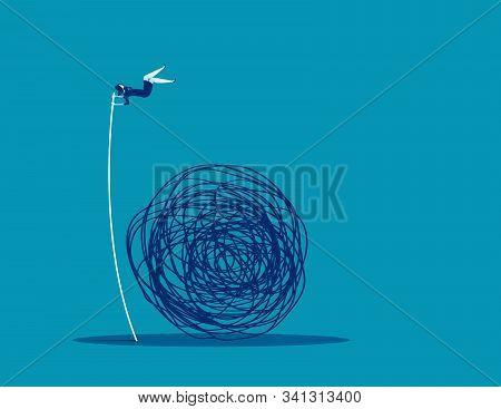 Businesswoman Avoiding Trouble. Concept Business Vector Illustration, Mess, Doodle, Problem,