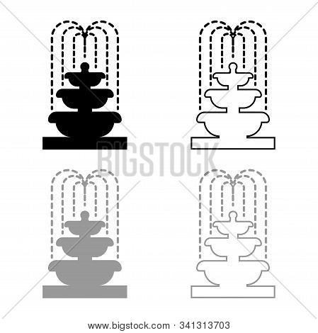 Fountain Tier Of Water Icon Outline Set Black Grey Color Vector Illustration Flat Style Simple Image