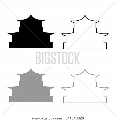 Chinese House Silhouette Traditional Asian Pagoda Japanese Cathedral Facade Icon Outline Set Black G