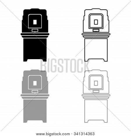 Electoral Voting Machine Electronic Evm Election Equipment Vvpat Icon Outline Set Black Grey Color V