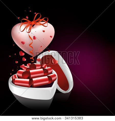 Black Illustration With A White Casket And A Big Heart With A Bow And Ribbon.